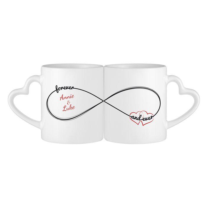 Set de tasses personnalisées avec anse cœur - Symbole infini