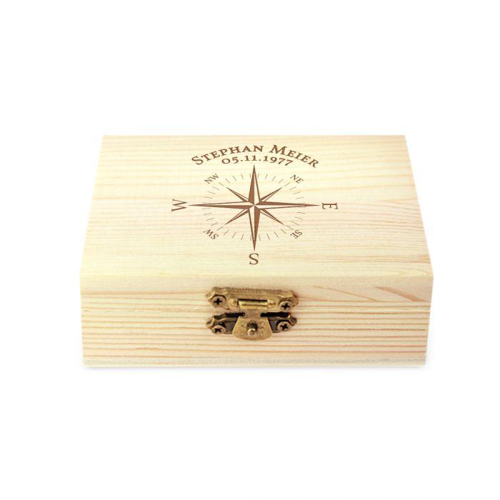 Whisky Steine in Holzkiste mit Gravur - Kompass