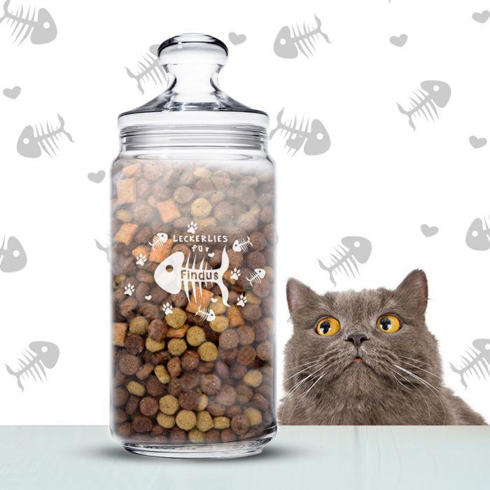 Leckerlies für Katzen - personalisiertes Vorratsglas mit Gravur