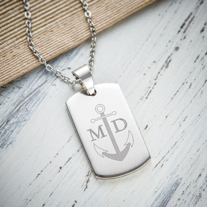 Pedentif army dog tag avec gravure pour hommes - Ancre