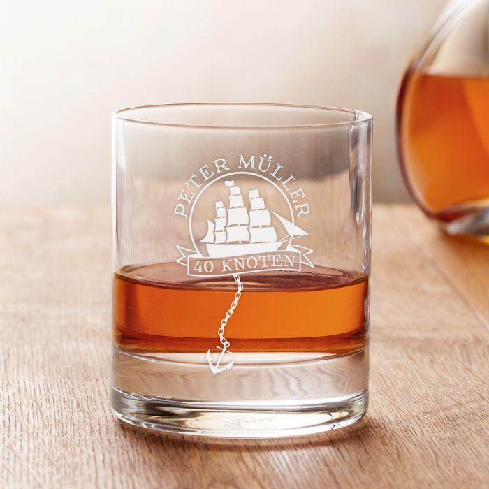 Personalisiertes Rumglas zum Geburtstag - Segelschiff