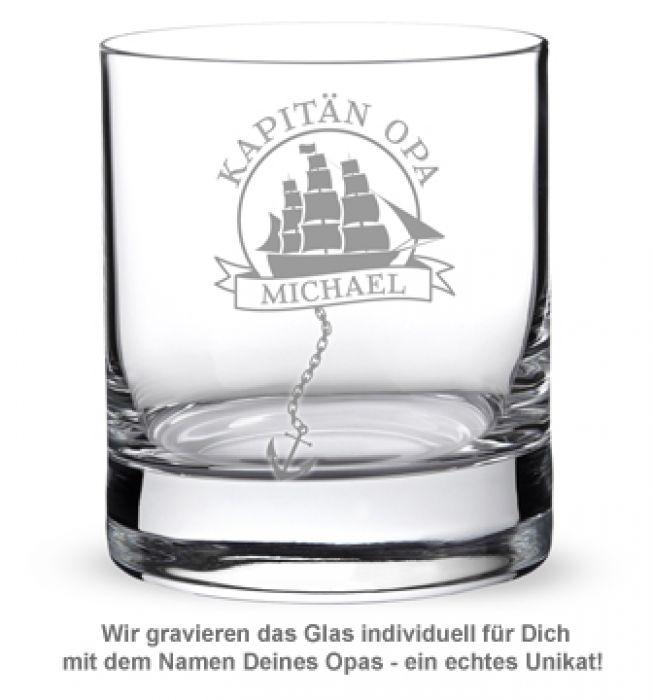 Personalisiertes Rumglas für Opa - Segelschiff