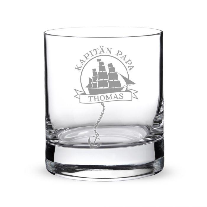 Personalisiertes Rumglas für Papa - Segelschiff