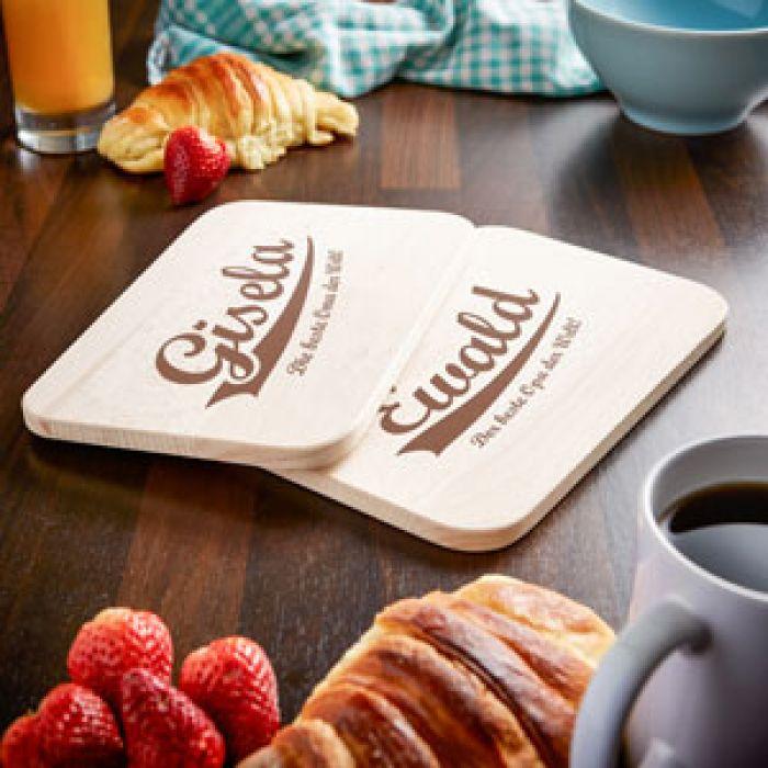 Frühstücksbrettchen Set mit Gravur - Die besten Großeltern