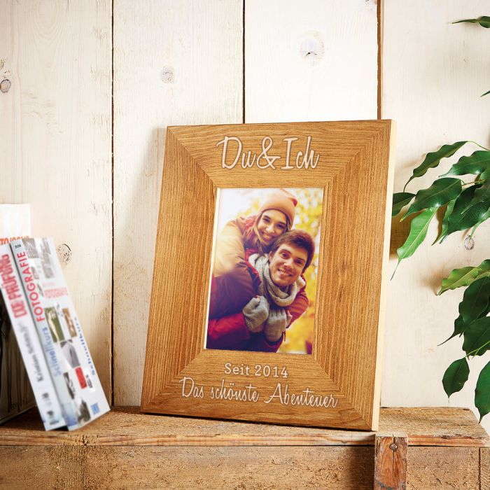 Personalisierter Bilderrahmen - Du & Ich - mit Jahresgravur