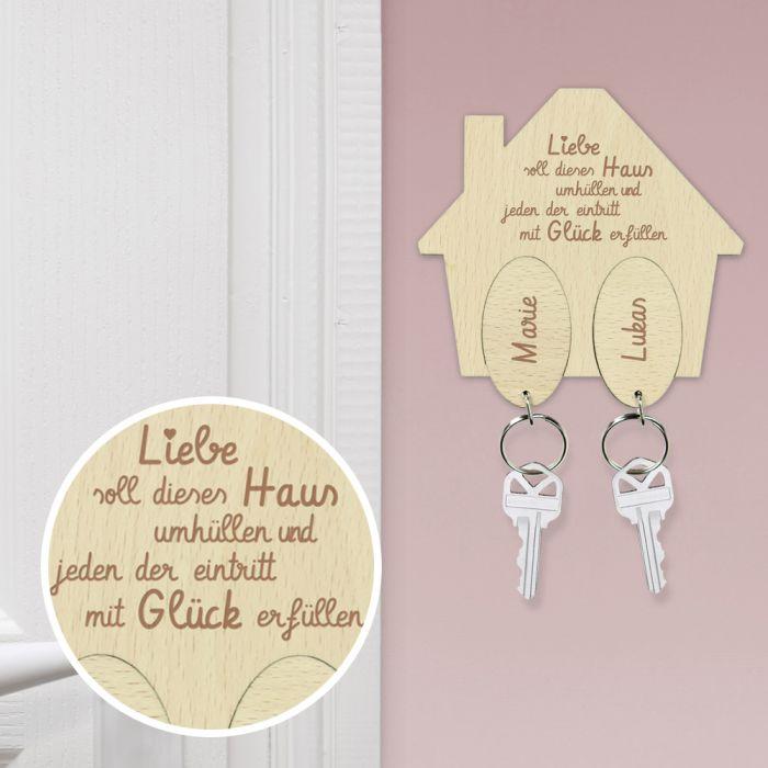 Schlüsselbrett mit Gravur - Haussegen - Namen und Spruch