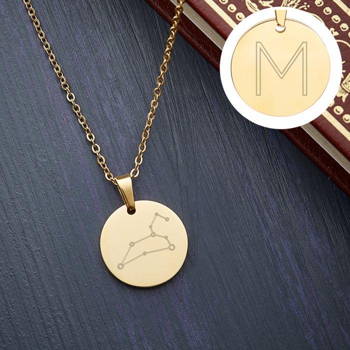 Runder Kettenanhänger Gold - Sternbild mit Initiale