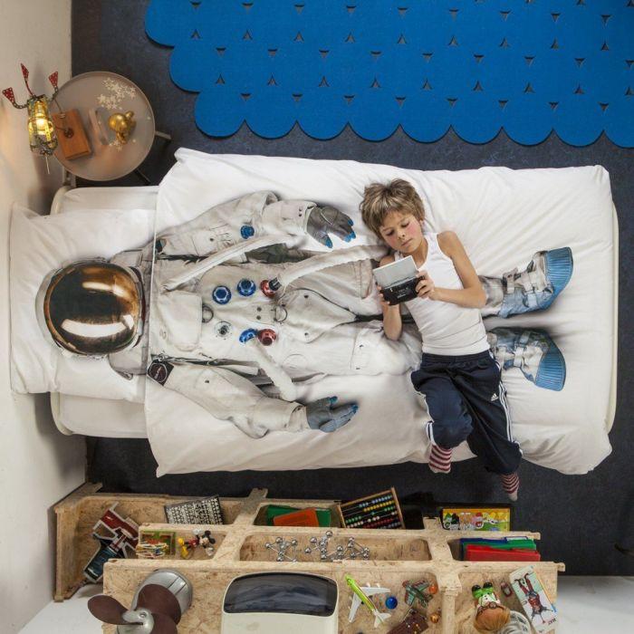parure de lit pour enfants astronaute. Black Bedroom Furniture Sets. Home Design Ideas
