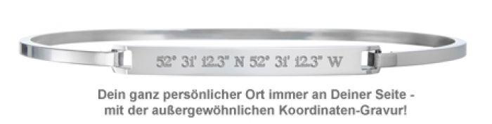 Armreif Silber mit Gravur - Geokoordinaten