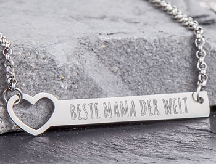 Kette mit Herzstanze Silber - Beste Mama