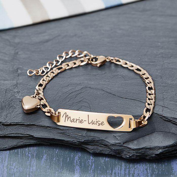 Bracelet avec cœur poinçonné or - Gravure du nom