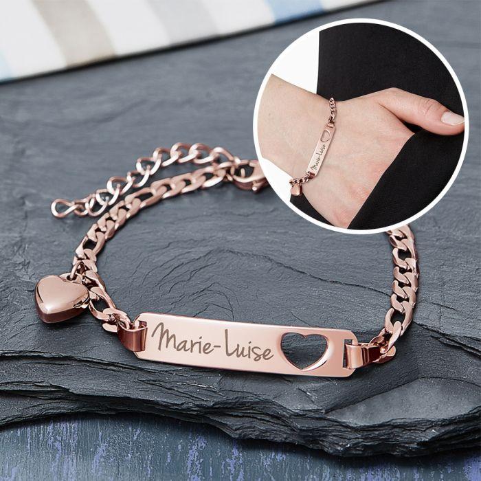 Bracelet avec cœur poinçonné or rose - Gravure du nom