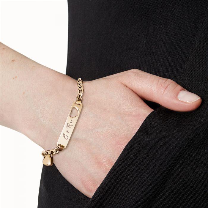 Armband mit Herzstanze Gold - Initialengravur