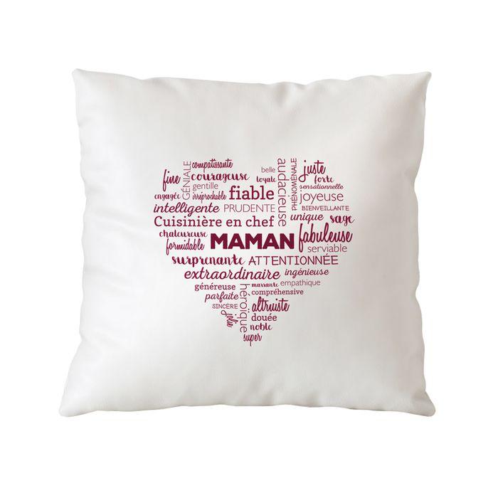Coussin personnalisé pour Maman - Cœur de mots