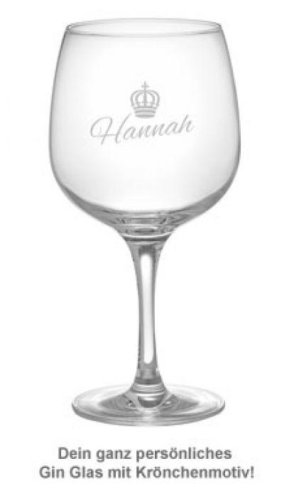 Gin Glas mit Gravur - Königin Krone