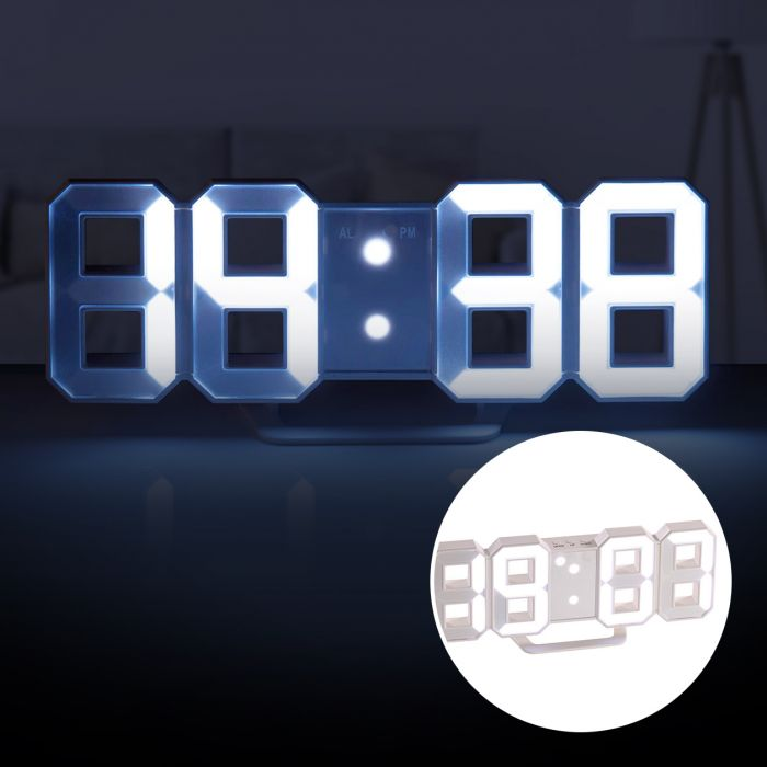3d digitaluhr mit wecker 2in1 led wanduhr tischuhr digital. Black Bedroom Furniture Sets. Home Design Ideas