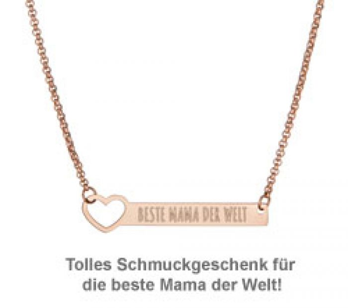 Kette mit Herzstanze Rosegold - Beste Mama