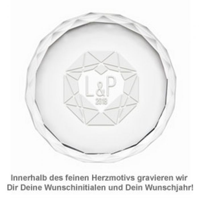 Kristall mit Initialen Gravur - Herzdiamant