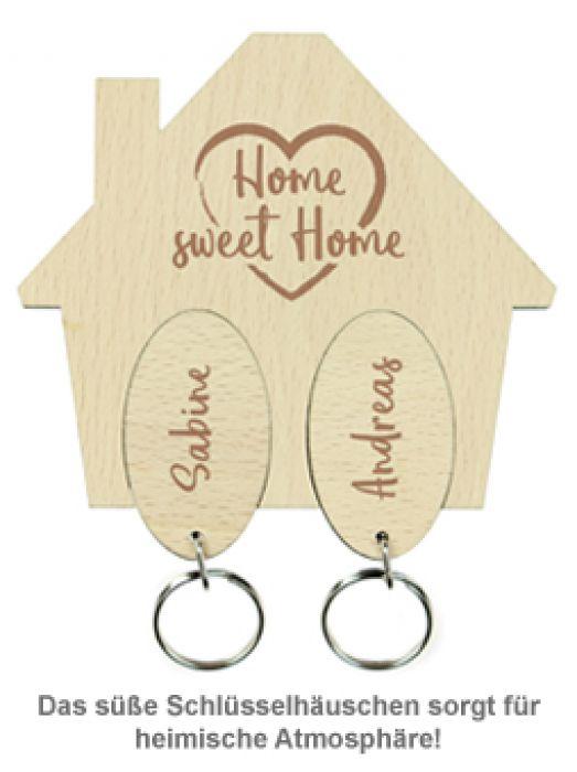 Schlüsselbrett mit Gravur - Sweet Home