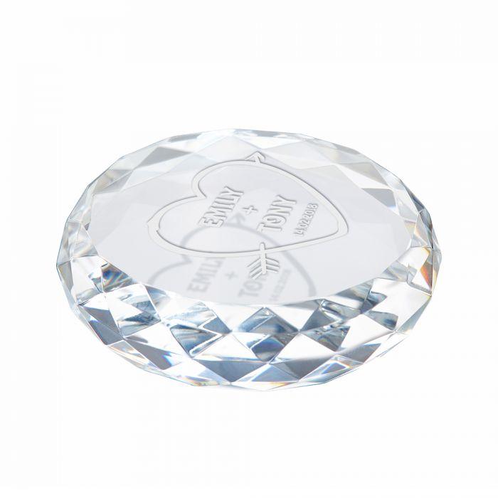 Kristall mit Gravur - Amors Pfeil