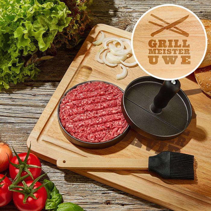 Individuellküchenzubehör - Burgerpresse mit Schneidebrett Grillset Grillmeister - Onlineshop Monsterzeug