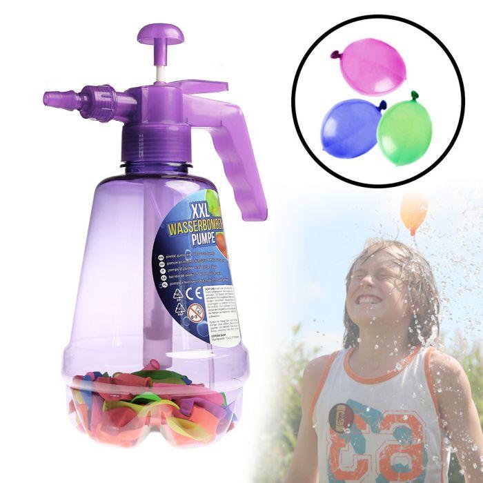 Wasserbombenfüller - Pumpe mit 100 Wasserballons - lila