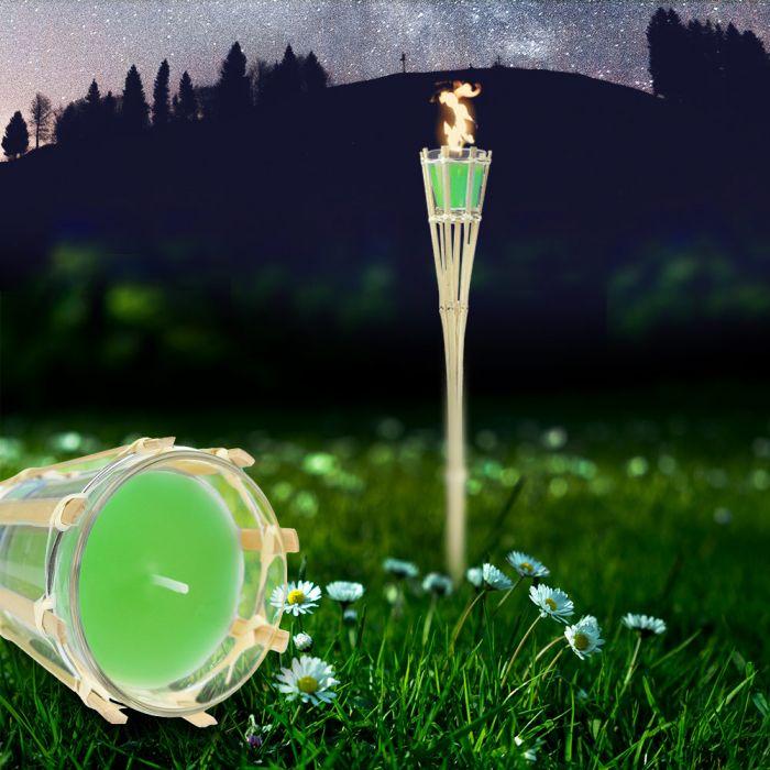 Gartenfackel mit Duftkerze im Glas - grün