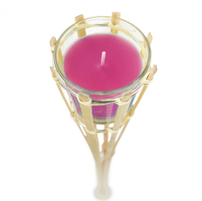 Gartenfackel mit Duftkerze im Glas - pink