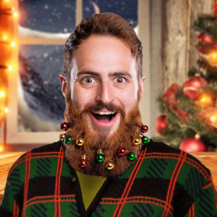 Weihnachtskugeln als Bartschmuck - 10er Set