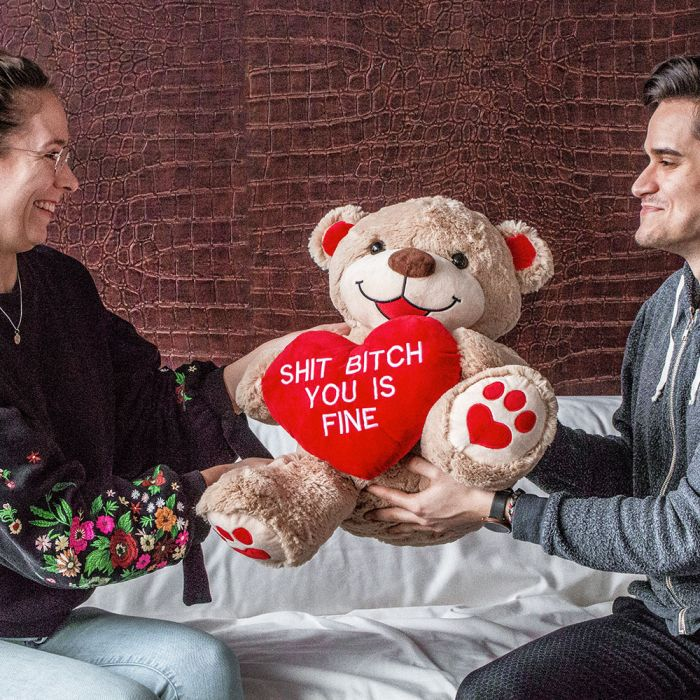 Riesen Teddybär mit Herz - Shit Bitch You Is Fine