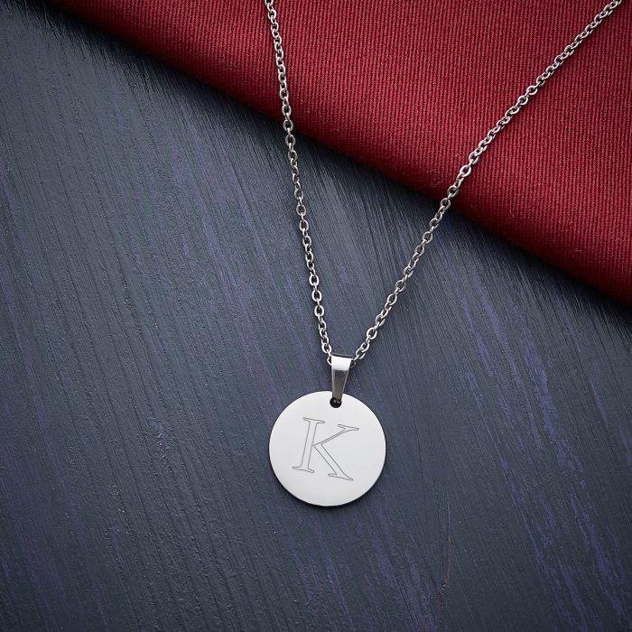 Runder Kettenanhänger Silber - Initialengravur