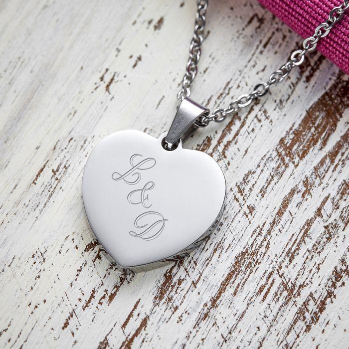 Herzanhänger Silber graviert mit Kette - Initialen