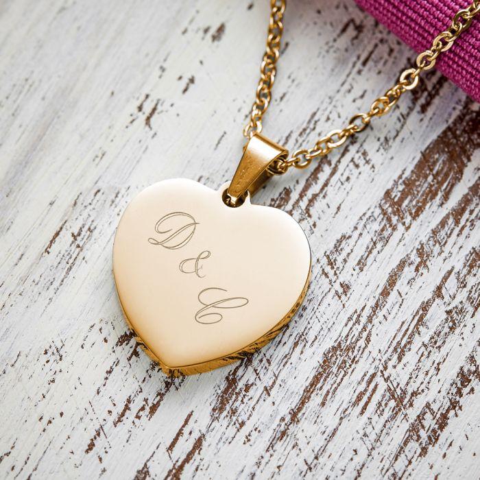 Herzanhänger Gold graviert mit Kette - Initialen