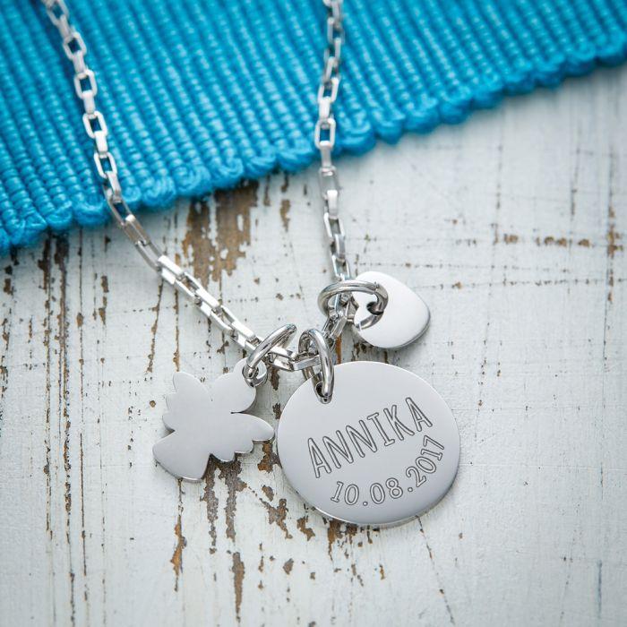 Runder Kettenanhänger Silber mit Charms - Name