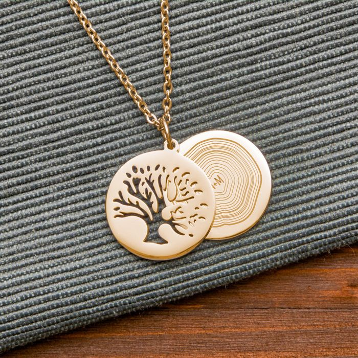Kettenanhänger Gold - Baum und Jahresringe mit Initialen