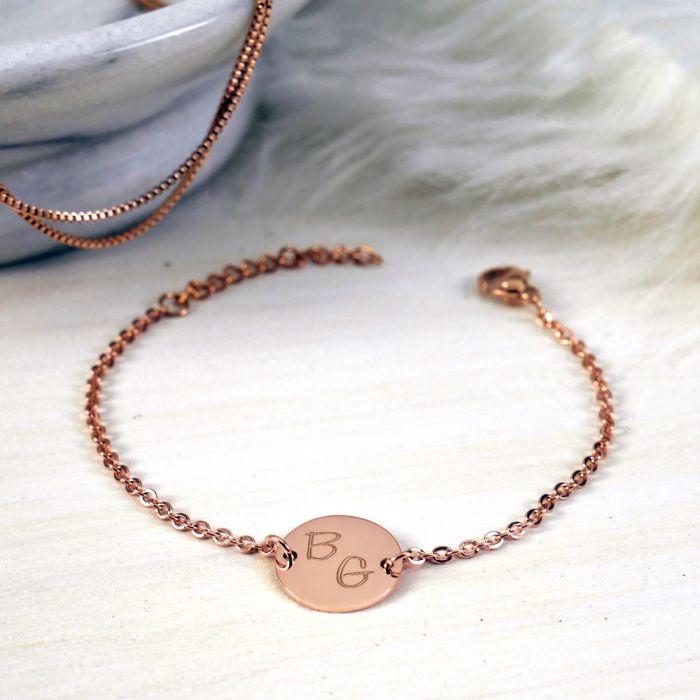 Armband Rosegold mit runder Plakette - Initialen