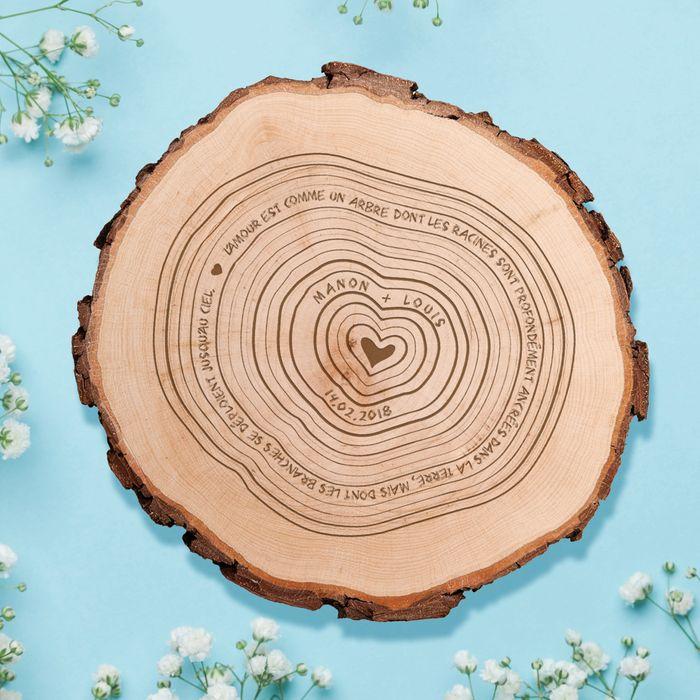 Tranche de rondin avec gravure - L'amour est comme un arbre