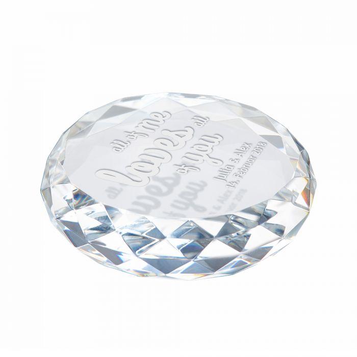 Kristall mit Gravur - Liebesbotschaft