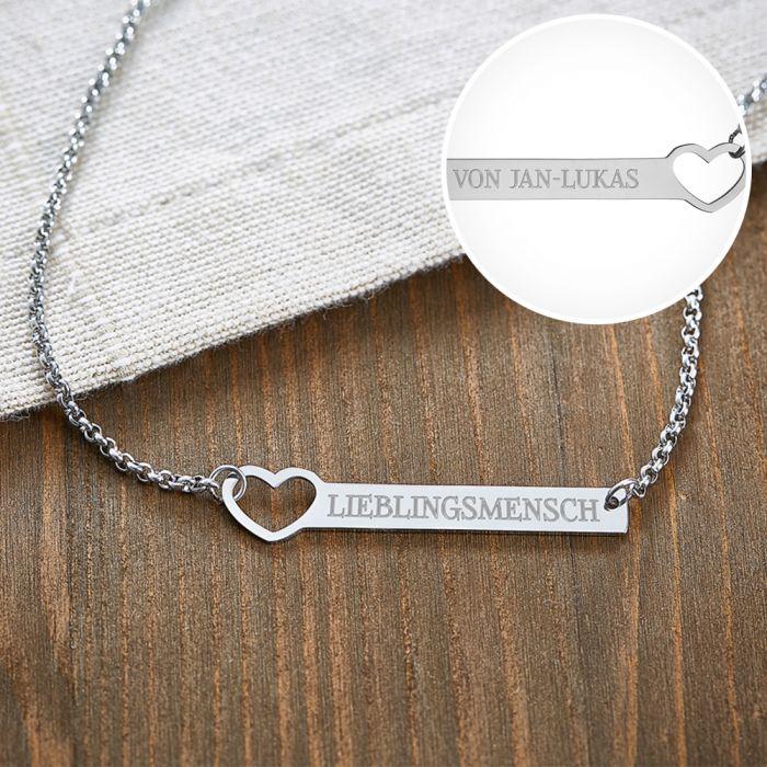 Kette mit Herzstanze Silber - Lieblingsmensch
