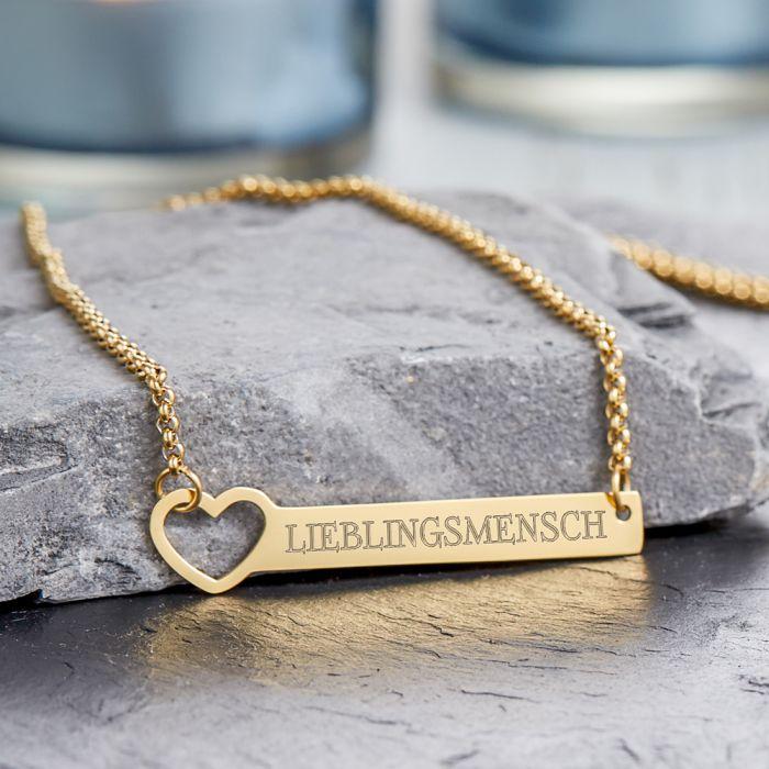 Kette mit Herzstanze Gold - Lieblingsmensch