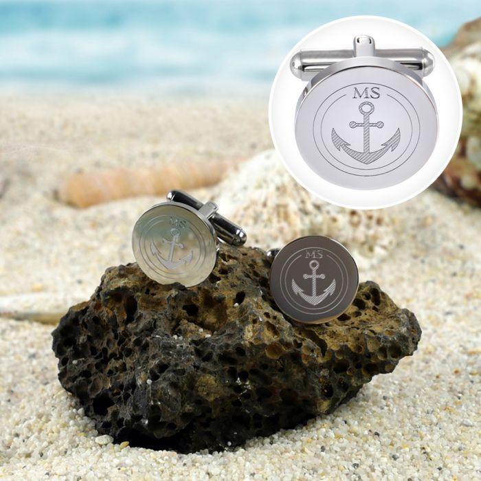 Manschettenknöpfe Silber Anker - rund - Initialen