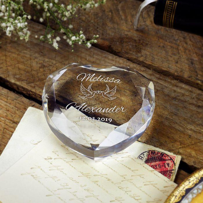Herz-Diamant mit Gravur zur Hochzeit - Liebestauben
