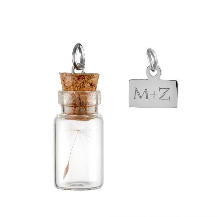 Kettenanhänger Flaschenpost - Initialen Gravur