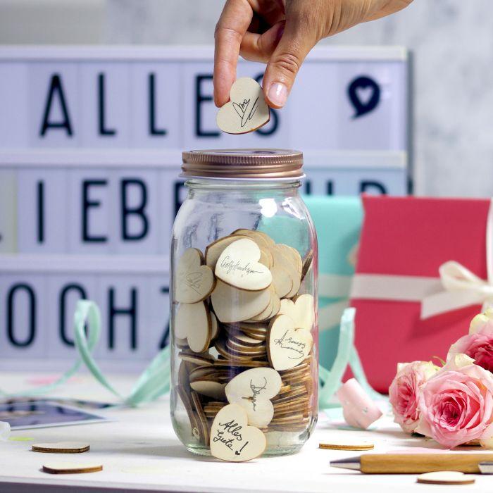 Ausgefallenromantisches - Hochzeitsgstebuch Wunschglas - Onlineshop Monsterzeug