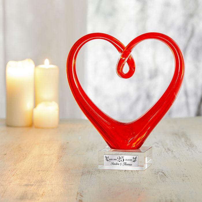 Herz aus Glas mit Gravur - Silberhochzeit