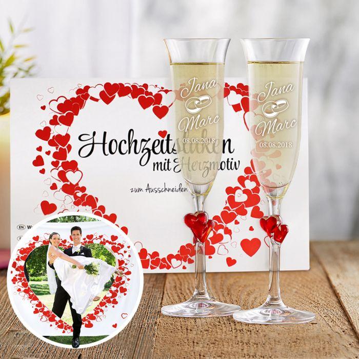 Hochzeitslaken Herzmotiv & Herzen Sektgläser mit Gravur
