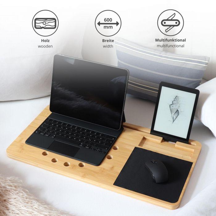 Support en bois pour ordinateur avec tapis de souris
