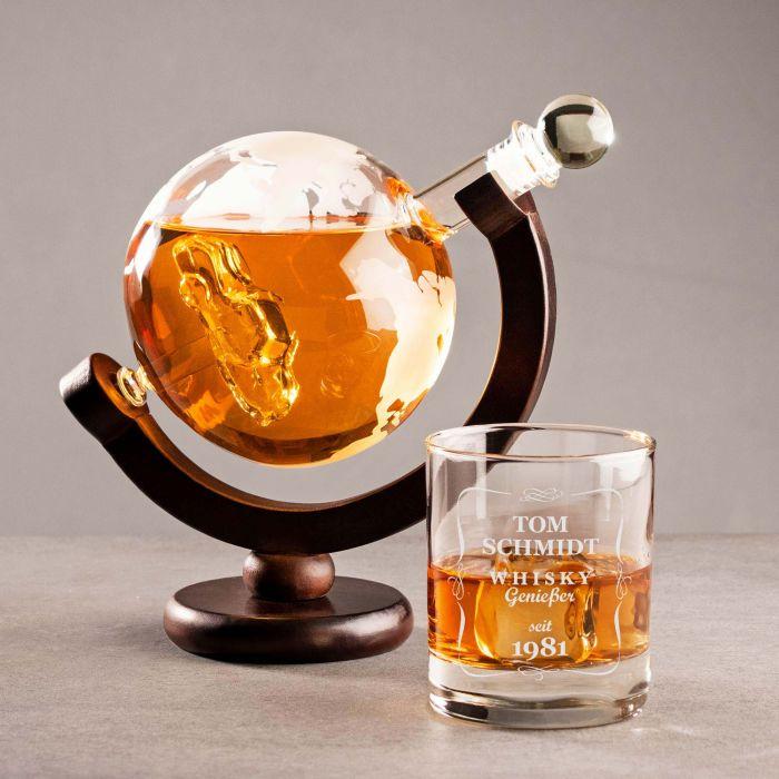 Individuellküchenzubehör - Whisky Set mit Globus Karaffe und Glas Auto - Onlineshop Monsterzeug