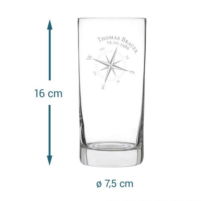 Cocktailglas mit Gravur - Kompass