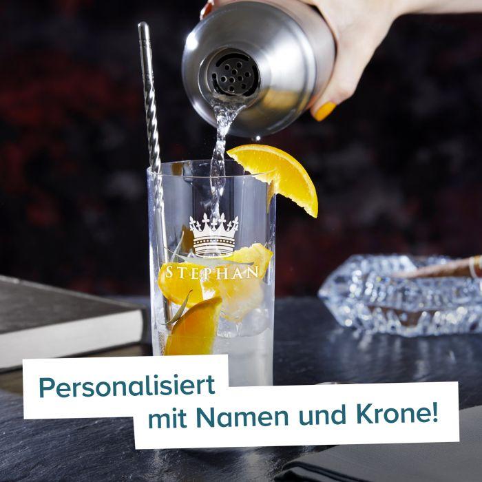 Cocktailglas mit Gravur - König Krone